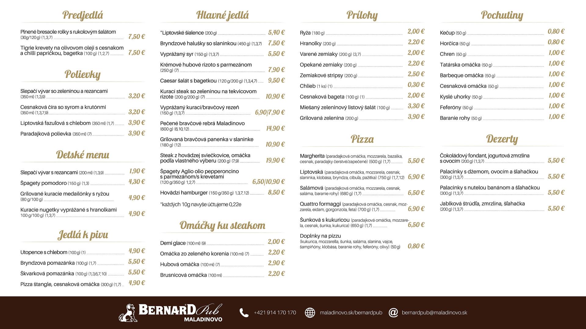 Jedálny lístok reštaurácie Bernard Pub Maladinovo