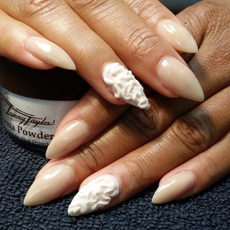 """almond shaped colored acrylic nails with 3d ruffle art.....our """"Rockstar"""" series!"""