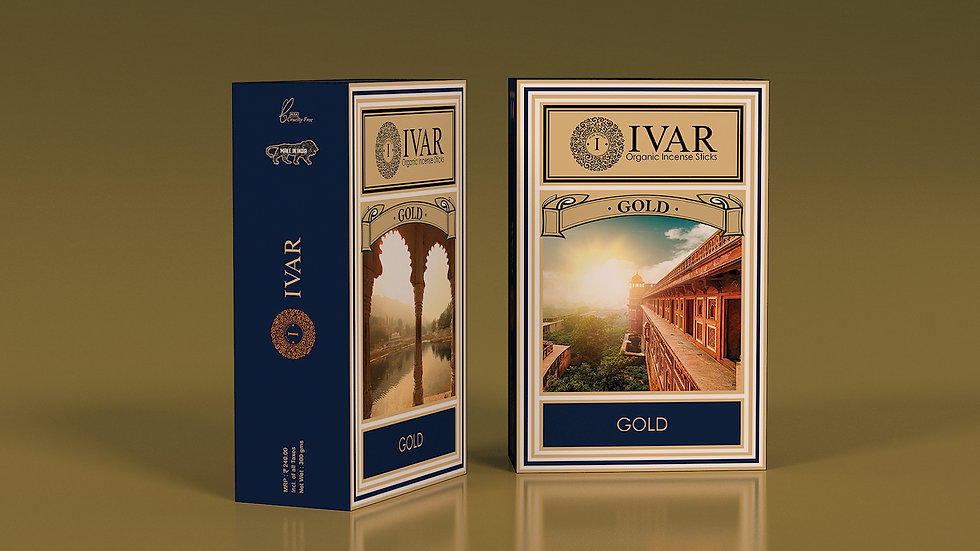 GOLD IVAR house blend - organic incense sticks. Pack of 12.