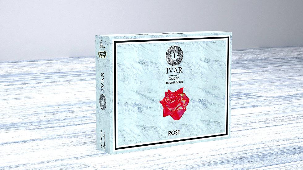 ROSE Value Saver Pack - IVAR Organic incense sticks. Pack of 12.