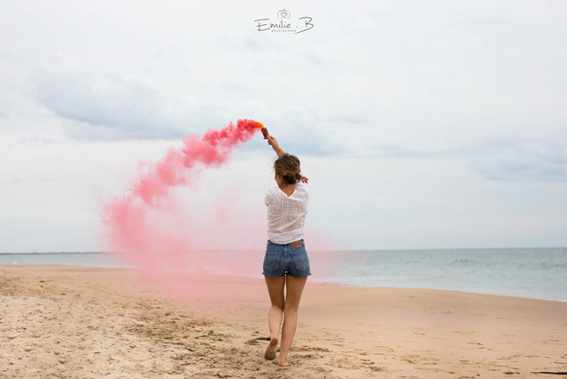 photo fun plage fumigène