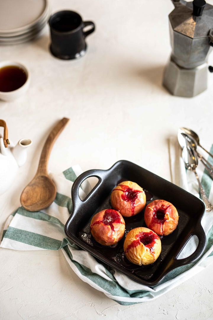 Photographie culinaire - pomme Antarès au four