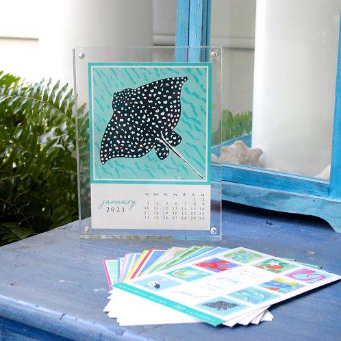 2021 Coastal Calendar with Magnet Acrylic Frame