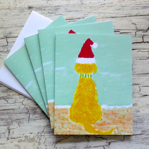 Santa Golden Beach Dog Blank Note Card Set