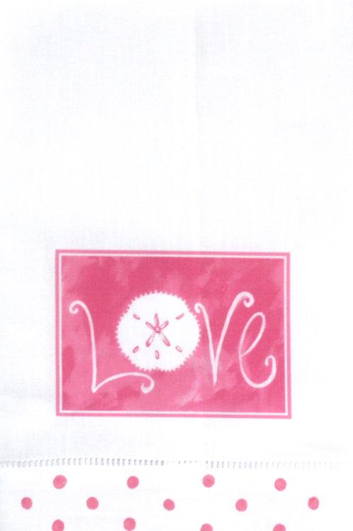 Pink Love Linen Valentine Guest Towel