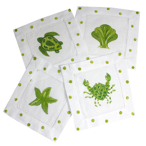 Lime Green and White Sea Life Cocktail Napkins