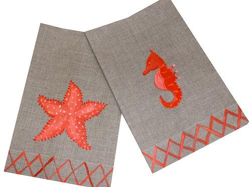 Orange Sea Horse & Starfish Linen Guest Towel Set