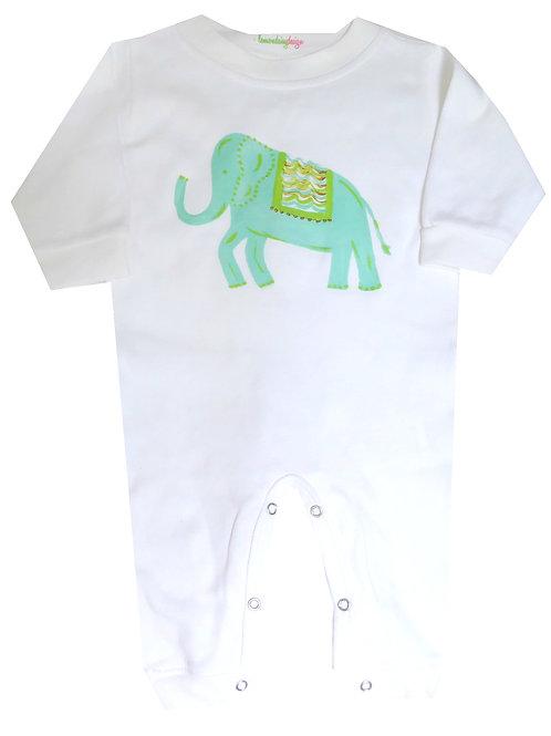 Turquoise Elephant Long Sleeve Baby Romper