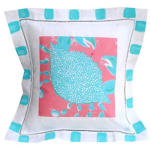 Turquoise Crab Beach Linen Pillow