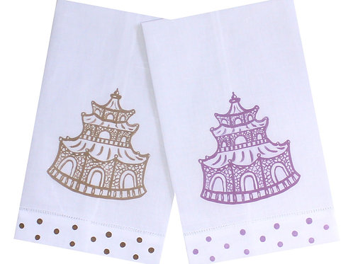 Autumn Colors Chinoiserie Pagoda Linen Guest Towels
