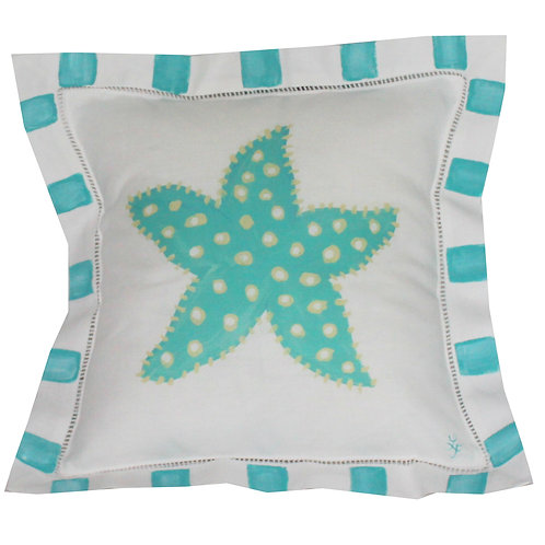 Turquoise Starfish Linen  Pillow