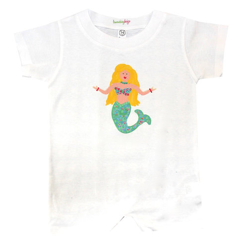 Teal Mermaid Baby Romper