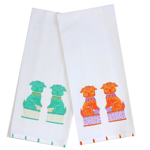 Chinoserie Foo Dogs Tea Towel