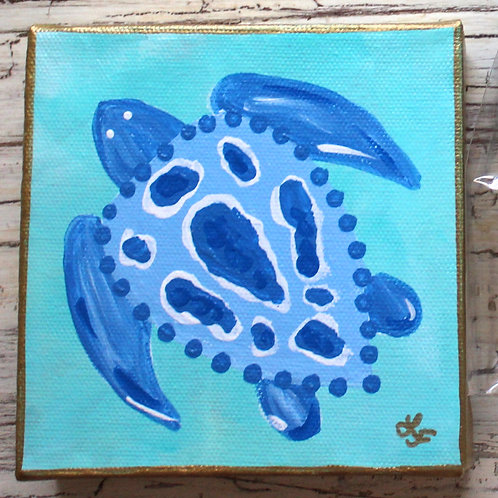 Blue and White Sea Turtle Original Painting