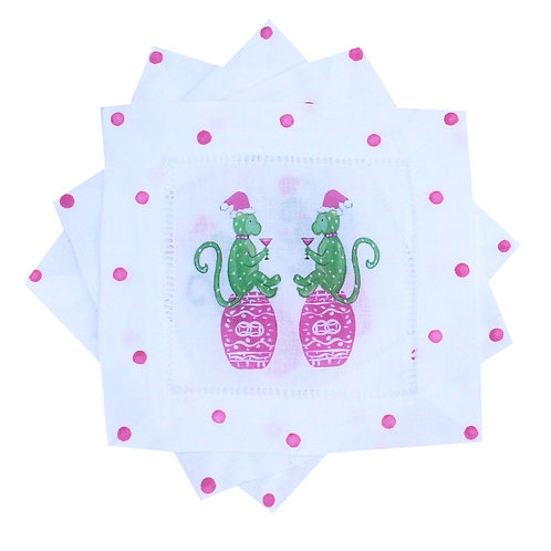 Pink & Green Chinoiserie Holiday Monkeys Linen Cocktail Napkins