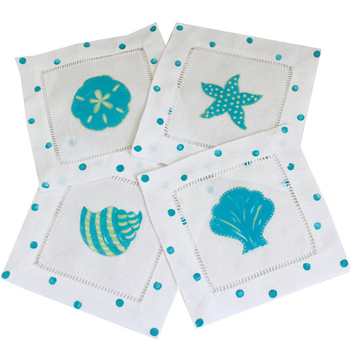 Turquoise Shell Linen Cocktail Napkins