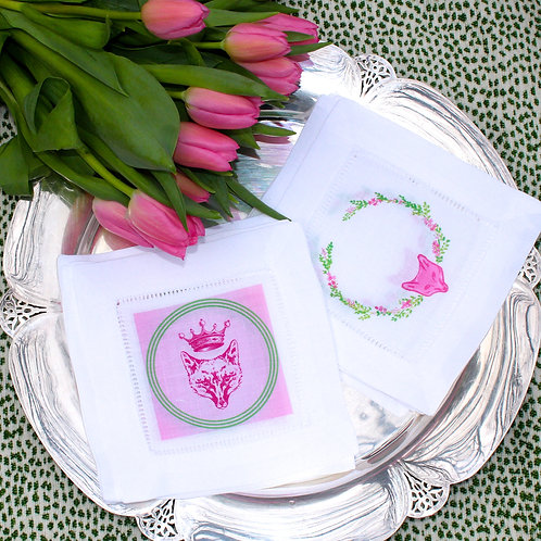 Holly Holden Design Pink Fox Linen  Cocktail Napkins