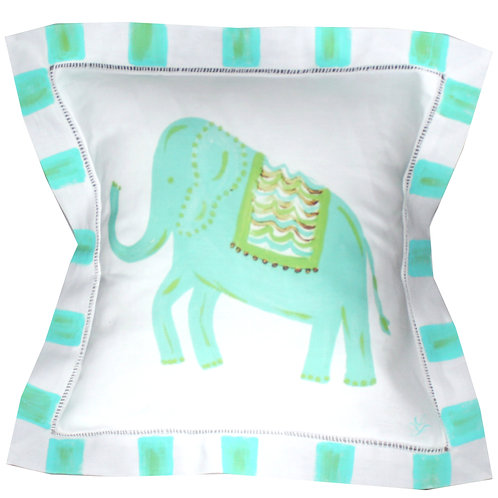 Turquoise Elephant  Pillow