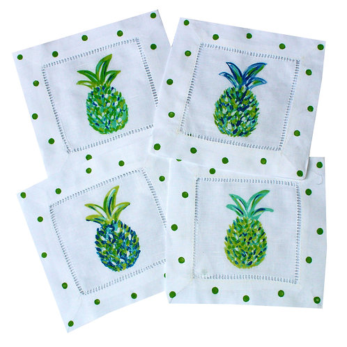 Blue Green Pineapple Linen Cocktail Napkins