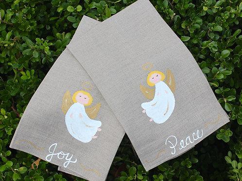 Peace and Joy Angel  Linen Guest Towel Set