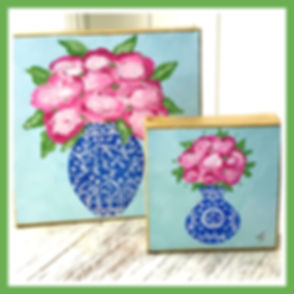 Original Art Chioiserie, Floral,Coastal Art