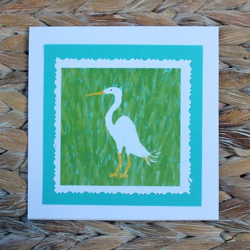 White Egret Note Card
