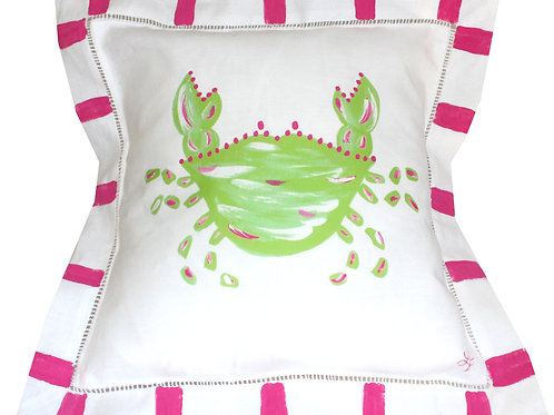 Pink and Green Personalized Crab Pillow