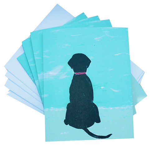 Black Beach Dog Blank Note Card Set