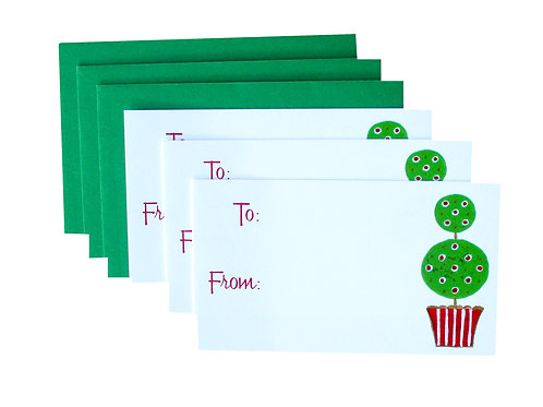 Holiday Topiary Gift Enclosure Card Set