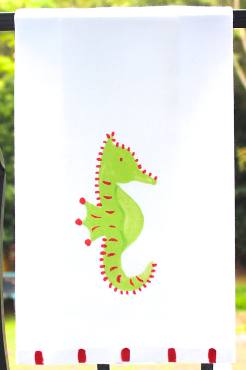 Christmas Sea Horse Kitchen Tea Towel