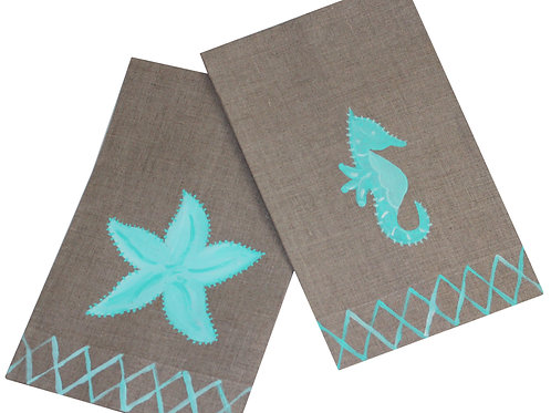 Turquoise Starfish and Sea Horse Linen Guest Towel