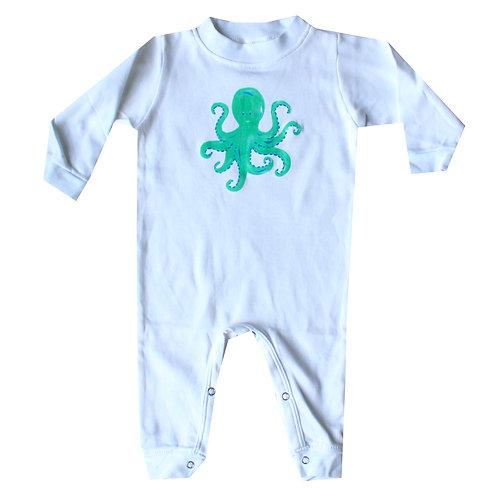Teal or Purple Octopus Beach Long Sleeve Romper