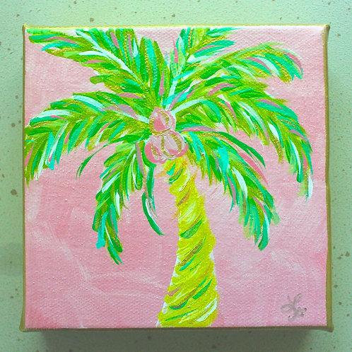 """Pink Palm Tree Original Acrylic Painting 5"""" x 5"""""""