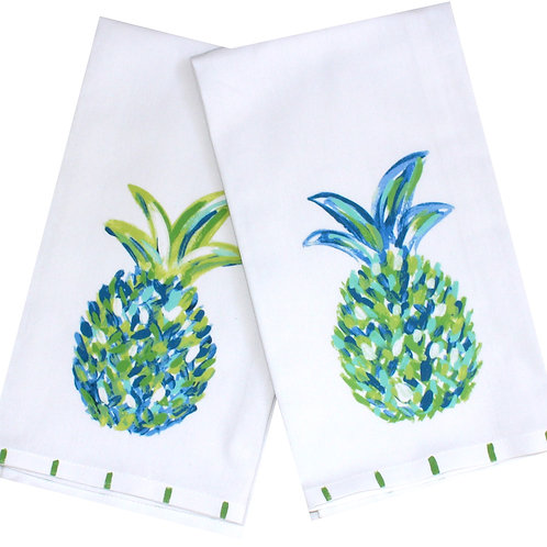 Blue Green Pineapple Tea Towel