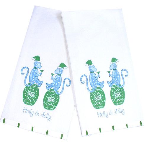 Holly Jolly Chinoiserie Monkeys Holiday Tea Towel
