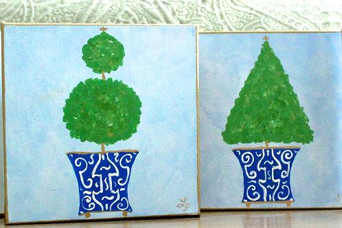 """Blue Chinoiserie Topiary Original Art 8""""x8"""""""