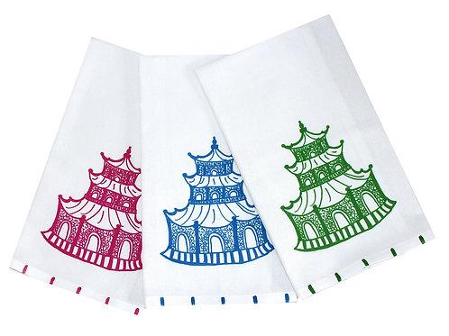 Chinoiserie Pagoda Tea Towel