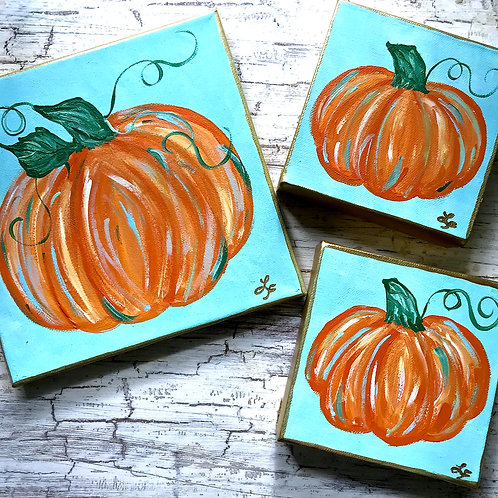 Turquoise Pumpkin Original Large Painting