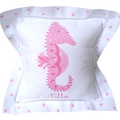 Pink Sea Horse Linen Pillow