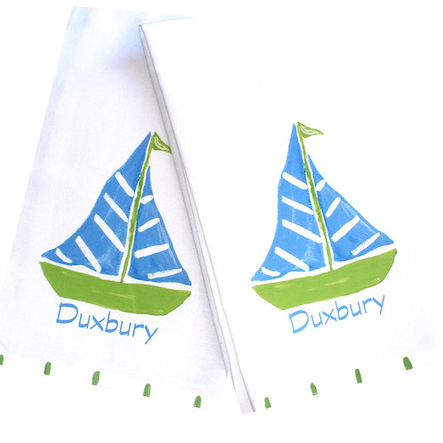 Blue and Green Sailboat Kitchen Towel