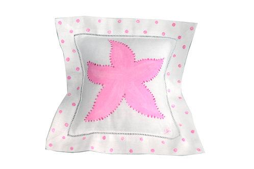 Pink Starfish Linen Pillow