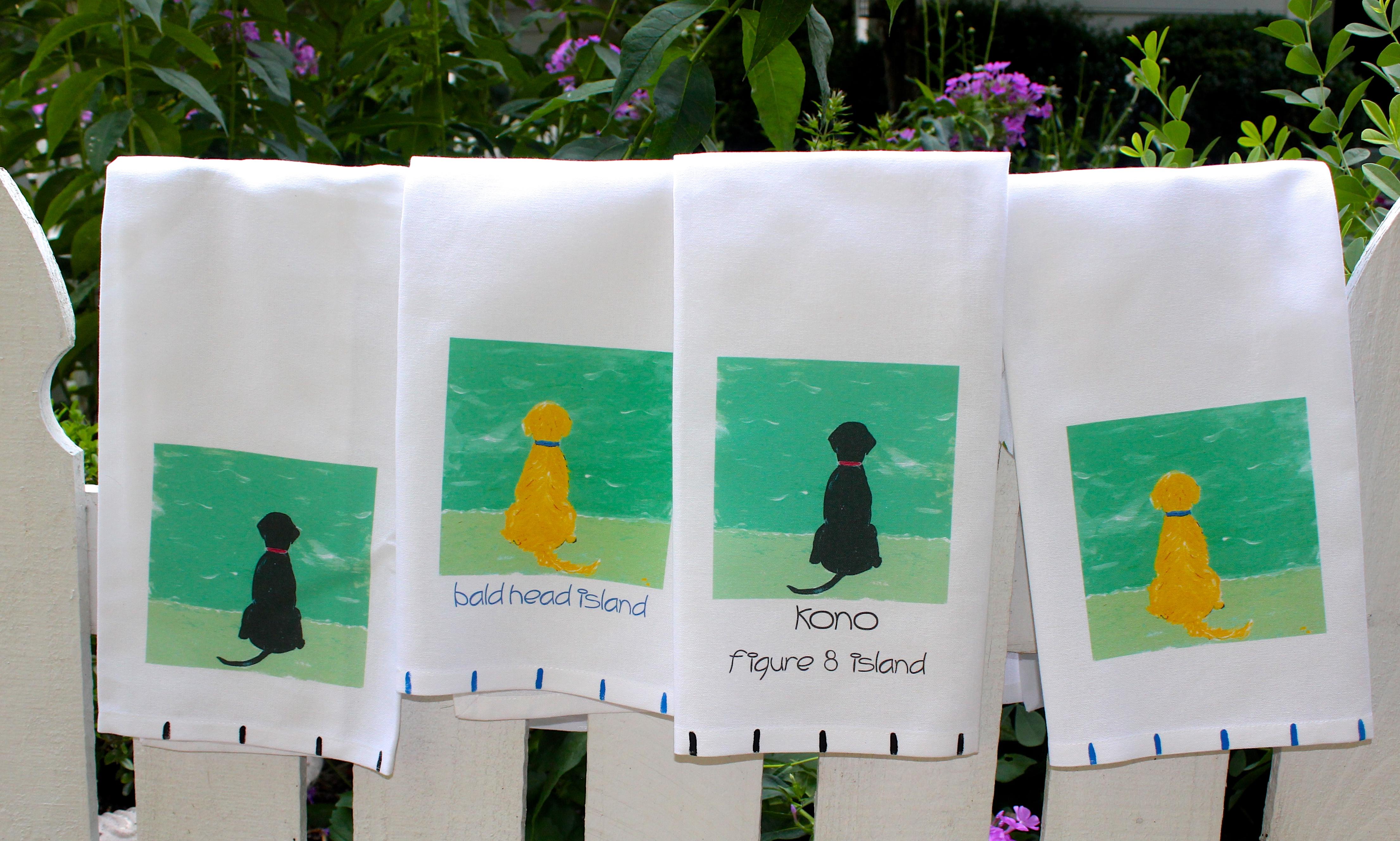 Beach Dog Tea Towel
