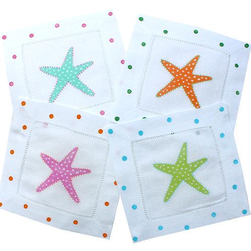 Multi Color Skinny Starfish Linen Cocktail Napkins