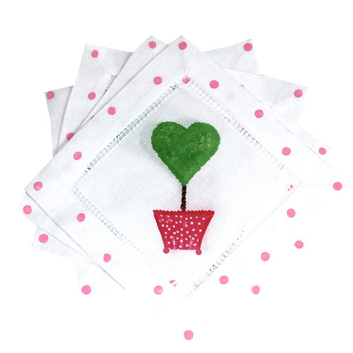 Pink Heart Topiary Cocktail Napkins
