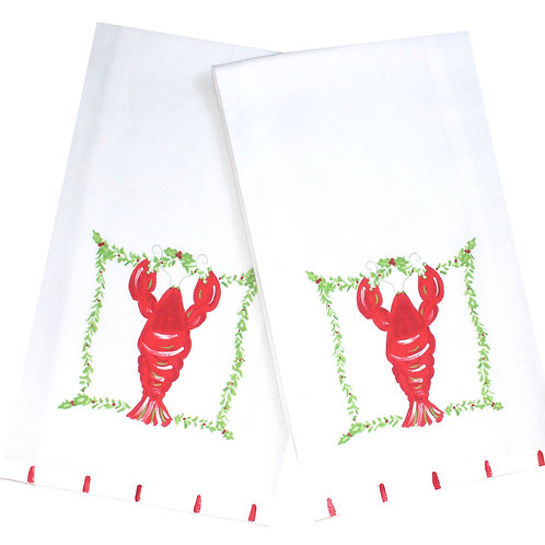 Christmas Lobster Kitchen Tea Towel