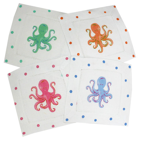 Multi Color Octopus Linen Cocktail Napkins