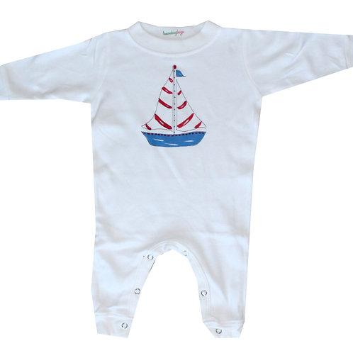 Nautical Sailboat  Long Sleeve Baby Romper