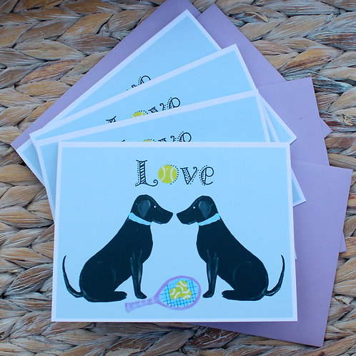 Tennis Dogs Love Note Card Set