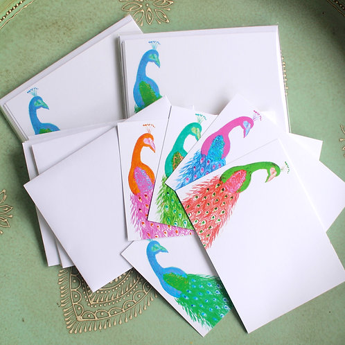 Colorful Peacock Blank Note Card Set