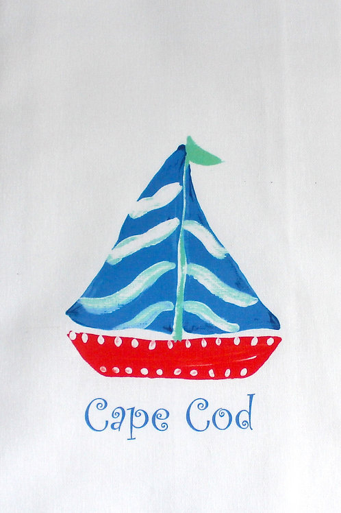 Red, Blue and Turquoise Sailboat Kitchen Towel